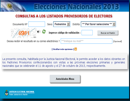 Donde Voto Padrn Electoral 2013 ARGENTINA elecciones primarias abiertas simultneas y obligatorias ARGENTINA 2013 CONSULTA 10 de Mayo